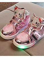 cheap -Girls' Shoes Leatherette Spring Fall Comfort Sneakers for Casual Pink Silver Gold