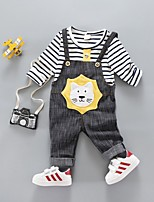 cheap -Boys' Daily Striped Clothing Set,Cotton Spring Fall Long Sleeve Casual Yellow Orange