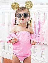 cheap -Baby Girls' Daily Solid One-Pieces,Cotton Linen Bamboo Fiber Acrylic Spring Simple Vintage Half Sleeves Blushing Pink