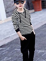 cheap -Girls' Daily Striped Clothing Set,Cotton Spring Fall Long Sleeve Casual Black