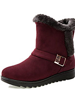 cheap -Women's Shoes Nubuck leather Spring Fall Comfort Snow Boots Boots Low Heel Mid-Calf Boots for Casual Burgundy Brown Black