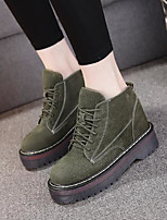 cheap -Women's Shoes Pigskin Winter Fall Combat Boots Boots Chunky Heel Round Toe Booties/Ankle Boots for Outdoor Green Yellow Black