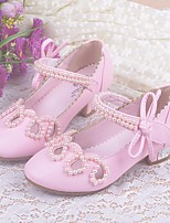 cheap -Girls' Shoes PU Spring Fall Comfort Flower Girl Shoes Tiny Heels for Teens Heels for Casual Pink White Gold