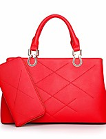 cheap -Women Bags PU Tote 2 Pieces Purse Set Zipper for Outdoor Winter Red Black