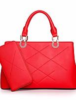 preiswerte -Damen Taschen PU Tragetasche 2 Stück Geldbörse Set Reißverschluss für Winter Schwarz Rote