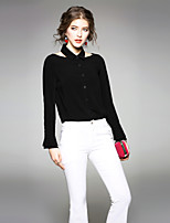 cheap -EWUS Women's Party/Cocktail Going out Vintage Sexy Spring Summer ShirtSolid Halter Long Sleeve Polyester Medium
