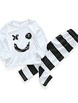 cheap -Baby Unisex Daily Print Clothing Set,Cotton Spring Casual Long Sleeve White