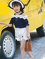 cheap -Girls' Daily Solid Clothing Set,Cotton Summer ½ Length Sleeve Casual Navy Blue