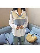 abordables -Chemise Femme,Couleur Pleine Décontracté / Quotidien Actif Printemps/Automne Manches longues Col de Chemise Coton Moyen