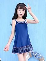 cheap -Girls' Solid Polka Dot Swimwear, Polyester Navy Blue