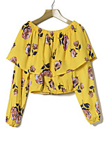cheap -Women's Daily Vintage Active Spring Blouse,Floral Boat Neck Long Sleeve Polyester