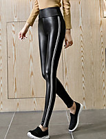 cheap -Women's Polyester Thick Solid Color Legging,Striped Solid This Style is TRUE to SIZE.