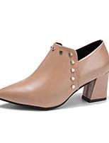 Недорогие -Жен. Обувь Полиуретан Весна Осень Удобная обувь Модная обувь Обувь на каблуках На толстом каблуке Ботинки для Повседневные Черный Розовый