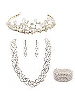 preiswerte -Damen Kränze Braut-Schmuck-Sets Strass Europäisch Modisch Hochzeit Party Künstliche Perle Diamantimitate Aleación Körperschmuck 1