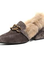 preiswerte -Damen Schuhe PU Frühling Herbst Komfort High Heels Block Ferse Spitze Zehe für Normal Schwarz Grau