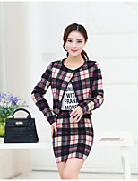 cheap -Women's Going out Simple Fall Set Skirt Suits,Striped Shirt Collar Long Sleeves Cotton Polyester
