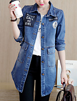 preiswerte -Damen Solide Freizeit Alltag Jeansjacke,V-Ausschnitt Winter Herbst Langärmelige Lang Baumwolle Acryl überdimensional