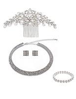 preiswerte -Damen Kränze Braut-Schmuck-Sets Strass Europäisch Modisch Hochzeit Party Künstliche Perle Diamantimitate Aleación Geometrische Form Blume