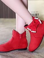 Недорогие -Девочки обувь Искусственное волокно Зима Осень Модная обувь Удобная обувь Ботинки Ботинки для Повседневные Черный Красный