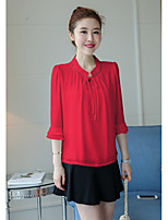 cheap -Women's Casual/Daily Street chic Blouse,Solid V Neck 3/4 Length Sleeve Polyester