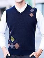 Недорогие -Для мужчин Повседневные На каждый день Обычный Пуловер Однотонный,V-образный вырез Без рукавов Полиэстер Зима Осень Плотная