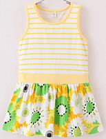 cheap -Girl's Striped Dress,Cotton Sleeveless Simple Yellow Navy Blue Blushing Pink Green