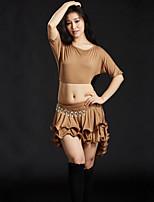 abordables -Danza del Vientre Accesorios Mujer Entrenamiento Rendimiento Modal Volantes en Cascada Media Manga Cintura Baja Faldas Tops