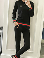 cheap -Women's Going out Simple Winter Set Pant Suits,Solid Round Neck Long Sleeve Pure Color Polyester Micro-elastic