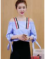 cheap -Women's Going out Work Vintage Spring/Fall Shirt,Solid Boat Neck ¾ Sleeve Cotton Thin