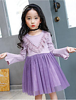 cheap -Girl's Daily Going out Solid Floral Print Dress,Cotton Polyester Spring Fall Long Sleeves Cute Active Princess Purple Blushing Pink