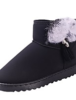 cheap -Women's Shoes PU Spring Fall Comfort Snow Boots Boots Flat Heel Round Toe Mid-Calf Boots for Casual Pink Gray Black