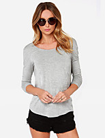 cheap -Women's Daily Casual All Seasons T-shirt,Solid Round Neck Long Sleeve Polyester