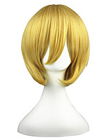 abordables -Femme Perruque Synthétique Court Droit crépu Blond Coupe Carré Perruque de Cosplay Perruque Déguisement
