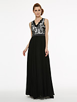 cheap -A-Line Princess V-neck Floor Length Chiffon Lace Mother of the Bride Dress with Appliques Lace Pleats by LAN TING BRIDE®