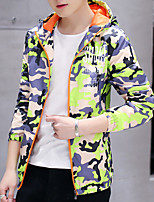 cheap -Men's Petite Daily Going out Casual Hoodie Camouflage Hooded Hoodies Micro-elastic Cotton Long Sleeve Fall