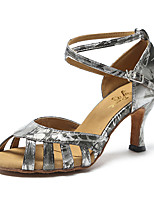 cheap -Women's Latin Leatherette Sandal Sneaker Indoor Practice Trim Stiletto Heel Silver Gold Customizable