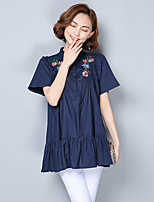 cheap -Women's Casual/Daily Chinoiserie Sophisticated Shirt,Embroidery Stand Short Sleeves Cotton