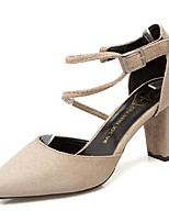cheap -Women's Shoes Nubuck leather Spring Comfort Heels Chunky Heel Pointed Toe for Casual Almond Gray Black