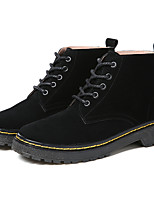 cheap -Women's Shoes Leather Winter Cowboy / Western Boots Combat Boots Boots Flat Heel Booties/Ankle Boots for Casual Outdoor Black Gray Khaki