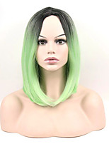Недорогие -жен. Парики из искусственных волос Средний Прямой силуэт Зеленый Волосы с окрашиванием омбре Парик в афро-американском стиле Стрижка боб