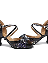 "cheap -Women's Latin Tulle Sandal Heel Performance Paillette Splicing Customized Heel Black 2"" - 2 3/4"" Customizable"