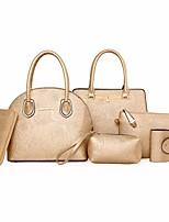 cheap -Women's Bags PU Bag Set 6 Pieces Purse Set Pattern / Print for Casual Winter Beige Black Gold Blue