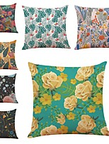 cheap -7 pcs Linen Pillow Cover,Floral Art Deco Abstract