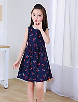 cheap -Girl's Daily Print Dress,Cotton Summer Sleeveless Cute Navy Blue