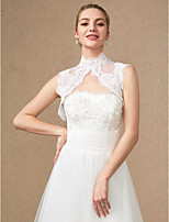 cheap -Sleeveless Lace Tulle Wedding Party / Evening Women's Wrap With Applique Buttons Lace Vests