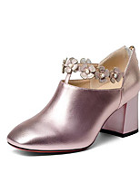 cheap -Women's Shoes Cowhide Nappa Leather Spring Fall Comfort Heels Chunky Heel for Casual Pink Dark Grey