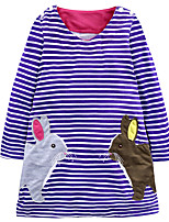 cheap -Girl's Daily Holiday Striped Dress,Cotton All Seasons Long Sleeves Cute Casual Purple
