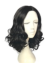 cheap -Wig Black Long Deep Wavy Heat Resistant Wig Mid-Part Bang Ombre Hair Wig For Women