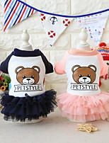 preiswerte -Hund Kleider Hundekleidung Tiere Kleider & Röcke Tier Buchstabe & Nummer Bär Blau Rosa Kostüm Für Haustiere
