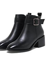 Недорогие -Жен. Обувь Наппа Leather Зима Осень Удобная обувь Ботинки На толстом каблуке Закрытый мыс Ботинки для Повседневные Черный Коричневый